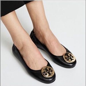 TORY BURCH BLACK LEATHER REVA BALLET FLAT SIZE 10